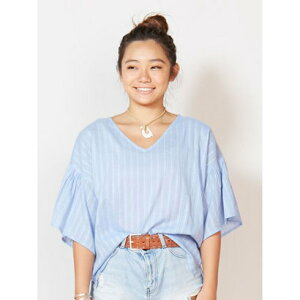 【購入品】【Kahiko】オルテガ刺繍フレアスリーブトップス ブルー