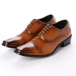 ジーノ Zeeno ビジネスシューズ 靴 メンズ 紳士靴 フォーマル ストレートチップ レースアップ 内羽根 シークレットシューズ ロングノーズ (ライトブラウン)