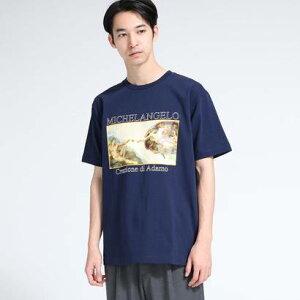 ティーケー タケオ キクチ tk.TAKEO KIKUCHI アートコレクション「アダムの創造」Tシャツ (ネイビー)