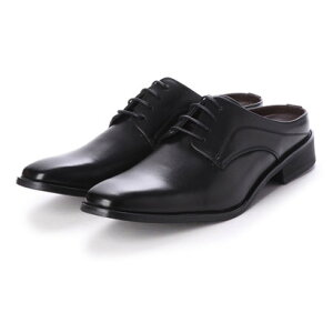 ジーノ Zeeno ビジネスシューズ メンズ サンダル 紳士靴 ローファー スリッパ スリッポン 革靴 通気性 クールビズ(Black)