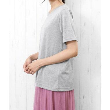 ミリアンデニ mili an deni (半袖)ナノファインVネックTシャツ (オフホワイトxブラック)