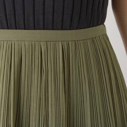 ドレスキップ DRESKIP オーガンジープリーツスカート (カーキ)