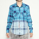 【アウトレット】ゲス GUESS VOYAGER BLEACHED PLAID SHIRT (VOYAGER PLAID BLUE)