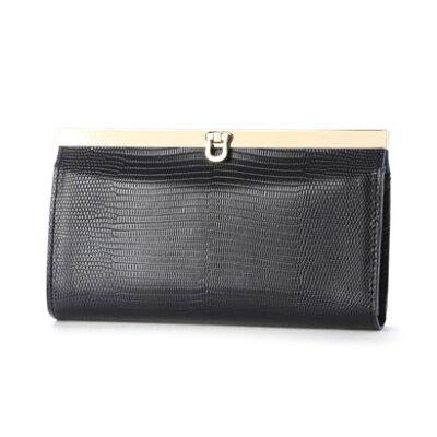 お金を引き寄せ守る黒い財布 perche リザード型押し長財布