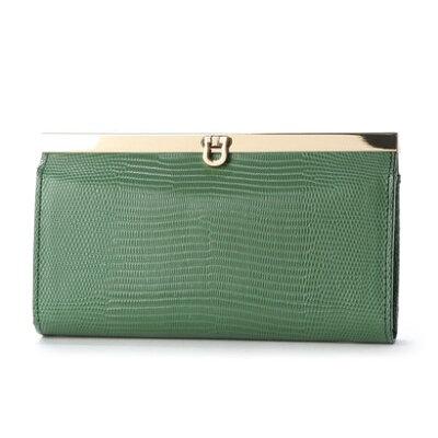 金運&運気アップする緑の財布のおすすめpercheのリザード型押し長財布