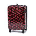 スパイラルガール SPIRAL GIRL スーツケース 36L拡張機能付トラベルハードキャリー (ブラック&レッド)