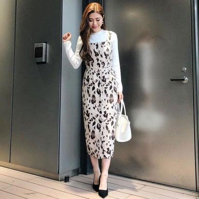 【アウトレット】リエンダ rienda Leopard JQ Jumper Dress (ベージュ)
