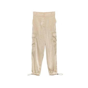 リエディ Re:EDIT [低身長向けSサイズ対応]裾絞りサテンカーゴパンツ (ライトベージュ)