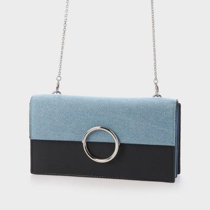 レディースバッグ, ショルダーバッグ・メッセンジャーバッグ  Two-Tone Ring Detail Long Wallet Denim Blue