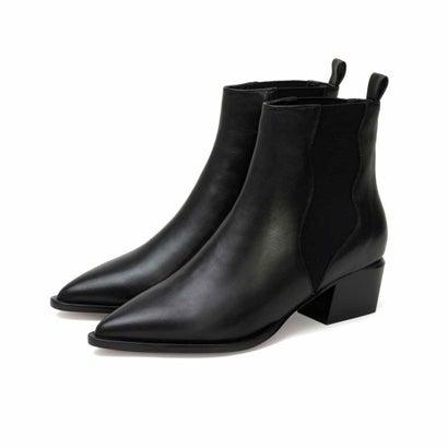リサ ビッキー LISA★VICKY 【シープスキン】ポインテッド ショートブーツ ブラック(ヒール高さ4.7cm) (ブラック)
