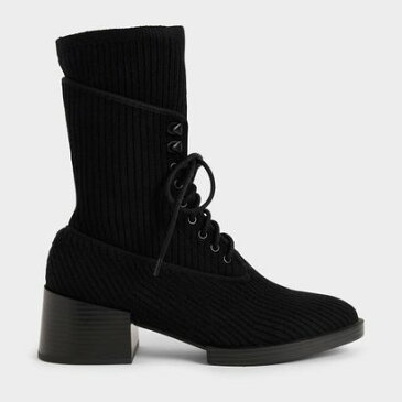 【2020 FALL】ニットレースアップ アンクルブーツ / Knitted Lace-Up Ankle Boots (Black)
