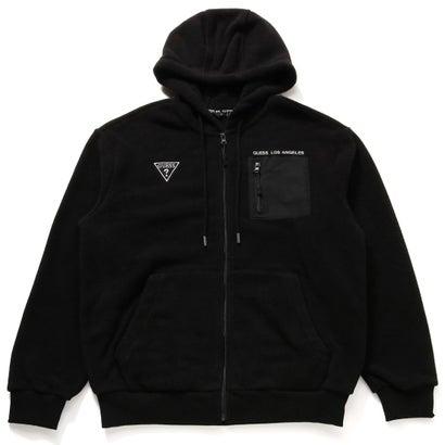 トップス, パーカー  GUESS Unisex Small Triangle Logo Hooded Zip-Up Parka BLACK