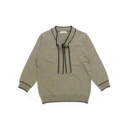 トーキョーシャツ TOKYO SHIRTS 配色ボウタイ ニットプルオーバー (モカ)