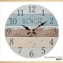オールドルック 掛け時計 木製 ビーチカラー ビーチ雑貨 壁掛け時計 ...