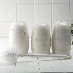 パステルカラーで森を表現した白い陶器のトイレブラシ、トイレのお掃除ブラシトイレブラシ/ト...