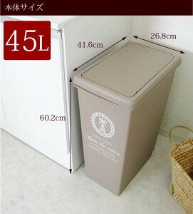 ゴミ箱スライドペール45L【ブルー・ベージュ・レッド・ブラウン】(分別大容量)(ごみ箱ごみばこダストボックスおしゃれふた付き45北欧屋外キッチンデザインかわいい)