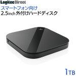 ロジテック外付けHDD500GBスマートフォン用ポータブルUSB3.1(Gen1)/USB3.02.5インチブラック【LHD-PSA005U3BK】