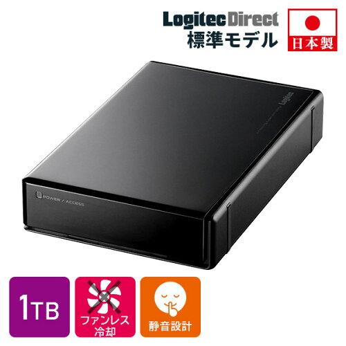 ハードディスク 1TB 外付け 3.5インチ USB3.0 テレビ録画 国産 省エネ静音 WD Blue搭載 ロジテック...