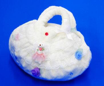 こどもバッグ キッズバッグ 白 ホワイト お花とクマのアップリケ リボン バレリーナ 女の子 あったかい ハンドメイド 手作り プレゼント 入園 入学