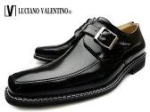 【 ロンプ収穫祭 目玉商品 】 LUCIANO VALENTINO ルシアーノヴァレンチノ 2104 BLACK メンズ ビジネスシューズ モンク 革靴 紳士靴 3E スクエアトゥ ブラック 大きいサイズ 28cm まで