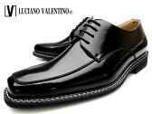 LUCIANO VALENTINO 1104 BLACK ルシアーノ・ヴァレンチノ メンズ スクエアトゥ 紐 外羽根 ブラック 紳士靴 革靴 合成皮革