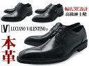LUCIANO VALENTINO ルシアーノ・ヴァレンチノ メンズ ビジネスシューズ 革靴 本革 ストレートチップ スクエアトゥ 靴 くつ 幅広 3E 紳士靴 紐 モンク