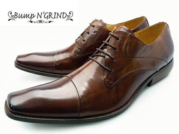 Bump N' GRIND バンプアンドグラインド メンズ ビジネスシューズ 本革 ロングノーズ 紐 革靴 紳士靴 茶 キャメル BG-2799 CAMEL 大きいサイズ ドレスシューズ 送料無料