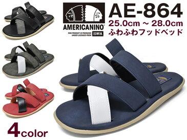 メンズ サンダル ストラップ ブランド AMERICANINO EDWIN AE-864 BLACK GREY NAVY RED アメリカニーノ エドウィン 黒 灰 紺 赤