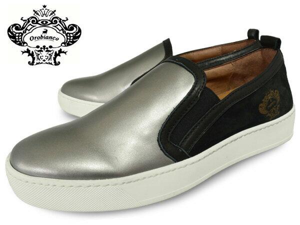 【p2】OROBIANCOMENSIMPERIAPIOMBONEROオロビアンコスリッポンスニーカーメンズインぺリアピオンボイタリア本革靴スニーカーシルバーブラック黒送料無料