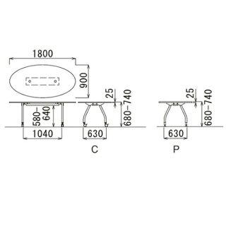シャトルワイヤリングテーブルタマゴ楕円SHWT-1890E送料無料ルキットオフィス家具インテリア