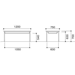 ダイニングテーブル1275棚付き塗装脚CKD-1275ST
