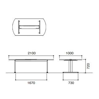 ★新品★会議テーブルW2100mmフリーアドレスCLT-2110B