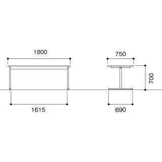 ダイニングテーブル1875食堂休憩室施設DKR-1875