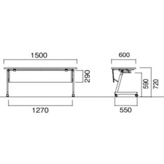 ★新品★フォールディングテーブル樹脂幕板付LFZ-1560HGWP