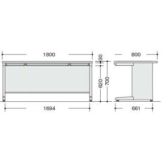 平机W1800mmオフィステーブル送料無料NED188F