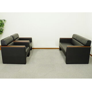応接ソファーセット3点セット2人掛けソファ1人掛けソファアームチェアアームソファ応接セットブラック黒椅子オフィス家具モンターニュKPQ-S-BK