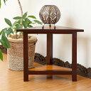マホガニーとバンブーの三角サイドテーブル(アジアン家具 アジアン テーブル インテリ……