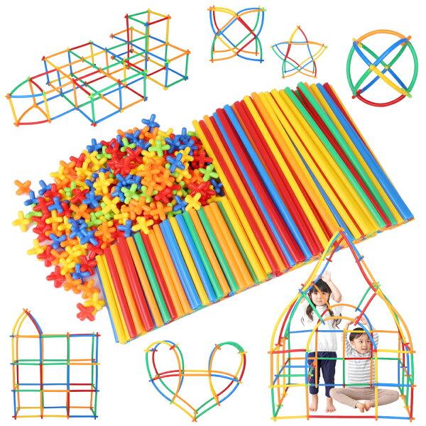 公式 Lon-Bi(ロンビー)物作りやアクティビティにも使える新感覚チューブ式ブロック7色560ピース知育玩具知育おもちゃ男の