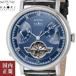 最大5000円クーポン有り!ゾンネxハオリ 腕時計 メンズ H024 44mm 手巻き レザーベルト ネイビー・シルバー/ブラック SONNE x HAORI H024SSBU 安心の正規品 代引手数料無料 送料無料