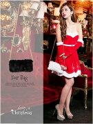 クラッチ フェイクファースクエアチェーンバッグ サンタクロース クリスマス コスチューム ハンドバッグ