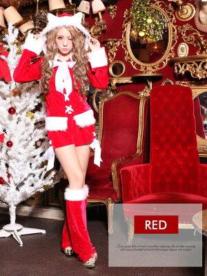 あす楽サンタコスプレ大きいサイズサンタ衣装【★選べるネコ耳サンタコスプレ】サンタクロースクリスマスコスチューム仮装[M/Lサイズ]【Dazzyサンタ★2015】