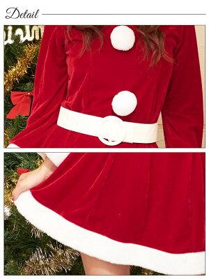 [予約:11月上旬発送]サンタコスプレサンタ衣装[3点セット]サンタコスプレえり付き/えりなし[dazzyサンタ2017]サンタ衣装サンタコスサンタクロースクリスマスコスチューム仮装パーティー衣装[ワンピース]