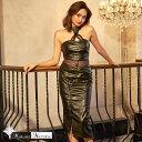 GACKT MARGARET NOCTURNE S M L レザー裾編み上げウエスト透けホルターネックタイトロングドレス 黒 キャバ ドレス キャバドレス ワンピース パーティードレス レディース 7サイズ デイジーストア あす楽