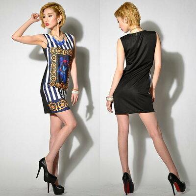 ドレス キャバ キャバドレス 流行のストライプでモードにきめる!デザインストレッチミニドレス パーティードレス