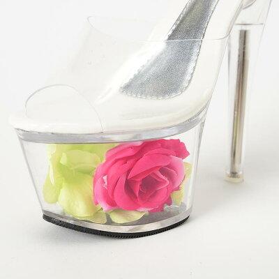 【送料無料】サンダルキャバ靴[17cmヒール]エレガントローズクリアサンダル/靴[S,M,L,LL][花フラワーflower造花クリア][ピンク緑クリア][靴サンダル17cmヒール厚底ドレスキャバ]