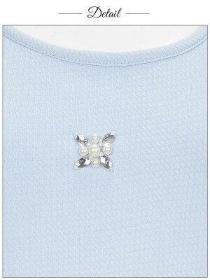 【あす楽】ドレスキャバミニキャバドレス[loungestyle]ビジュー&パール付きノースリーブタイトミニドレス/パーティードレス/ワンピドレス[白青紺][シンプル無地パステルカラー][レディースdress大人女性]