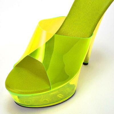 【あす楽】サンダルキャバ靴[15cmヒール]ネオンカラークリアサンダル/靴/ミュール[S,M,L][無地シンプルワンカラークリア][ピンク緑オレンジネオンカラークリア][靴サンダル15cmヒール厚底ドレスキャバ]