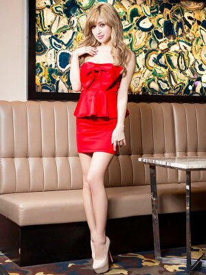 [8/2再販]【あす楽】ドレスキャバキャバドレスBIGリボンストレッチペプラムタイトミニドレス/パーティードレス/ワンピドレス[S/M/Lサイズ][白赤青黒][レディースキャバキャバドレスladiesdress大人女性][dazzyQueen]デイジー
