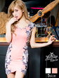 【あす楽】[5サイズ展開]ドレス キャバ ミニ キャバドレス ビジュー付き花柄スカラップオフショルダータイトミニドレス [S/SM/M/ML/Lサイズ][白 黒 ピンク][モノトーン 花柄 シンプル][レディース ladies dress 大人 女性][dazzyQueen][小原優花 ゆんころ]