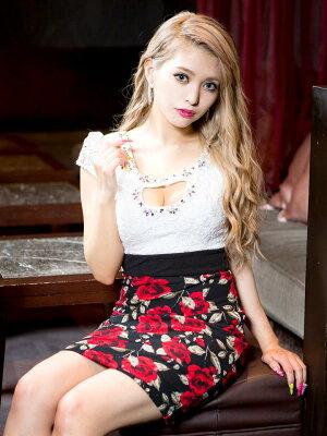【あす楽】ドレスキャバドレスナイトドレス大きいサイズ☆[S/M/Lサイズ]谷間ホール薔薇柄タイトミニドレス[dazzyQueen]●[岩本紗也加][白黒]パーティードレス/ワンピドレス[薔薇柄][レディースladiesdress大人女性][3サイズ展開]